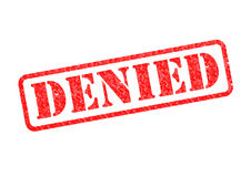 DENIED. `DENIED` Red Stamp over a white background Royalty Free Stock Photo