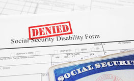 Denied Social Security disability application. Form Stock Image
