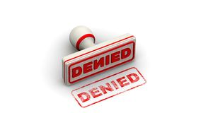 Denied. Stamp leaves a imprint. Stamp leaves a red imprint `DENIED` on white surface. Footage video vector illustration