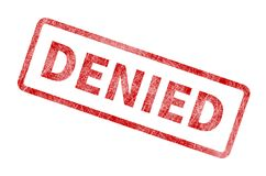 Denied Stamp - Red Grunge Seal. Rubber stamp isolated on white background Royalty Free Stock Photos