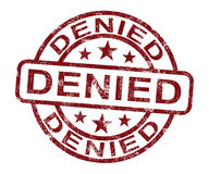 Denied Stamp Showing Rejection Or Refusal Stock Photo