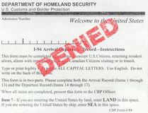 Denied US Immigration Form. Detail Of A Denied USA Immigration Customs And Border Protection Form I-94 royalty free stock images