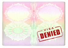 Denied Visa on Passport Stock Photos