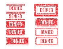 Denied Word Rubber Stamps Grunge Style Set Royalty Free Stock Photography