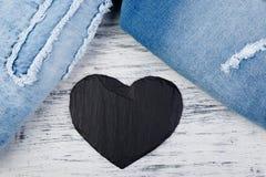 denim Предпосылка текстуры джинсов вектор Валентайн иллюстрации дня пар любящий Стоковое Фото