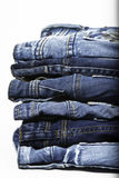 Denim. A stack of denims isolated Royalty Free Stock Photo