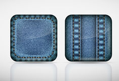 Denim application icons. texture jeans Royalty Free Stock Photo