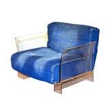 Denim armchair Stock Photo