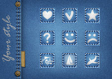 Denim background. 9 icins.vector illustration stock image
