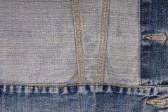 Denim background, jeans jacket. Blue denim background, creative backgrounds, backside, inside-out of jeans  jacket Stock Photos
