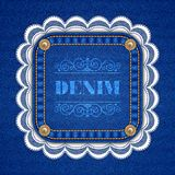 Denim background with lace Stock Image