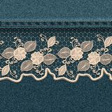 Denim background with white lace ribbon. Royalty Free Stock Photos