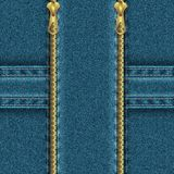 Denim background with zipper, divided into four zones. Royalty Free Stock Photos