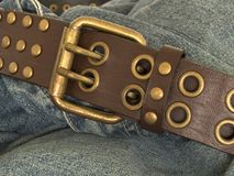 Denim and belt 1. Jeans with a leather belt stock photos