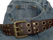 Denim and belt 2. Denim and belt royalty free stock photo