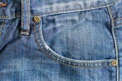 Denim-blaue Taschen-Nahaufnahme Stockbilder