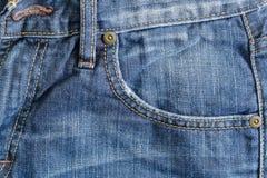 Denim-blaue Taschen-Nahaufnahme Stockfoto