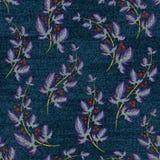 Denim bleu avec l'impression florale colorée Papier peint sans couture de vecteur Images libres de droits