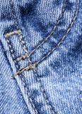 Denim blu con la cucitura Fotografia Stock Libera da Diritti
