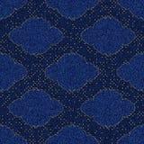 Denim blu di struttura senza cuciture con la scenetta ed i pois stampati della struttura dell'oro royalty illustrazione gratis