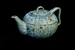 Denim blue jean China Kettle Teapot isolated Royalty Free Stock Photography
