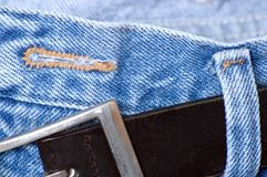 Denim Button Hole Royalty Free Stock Photography