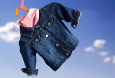 Denim child  jacket withkerchief Royalty Free Stock Images