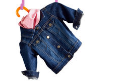 Denim child  jacket withkerchief Stock Photo