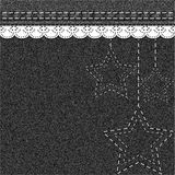 Denim Christmas background with embroidery and lace. Royalty Free Stock Photos