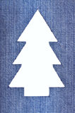 Denim Christmas Tree. Christmas tree cut out of denim Stock Photography
