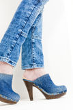 Denim clogs Stock Photography