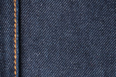 Denim closeup. Cotton jeans material detail - blue Royalty Free Stock Photo