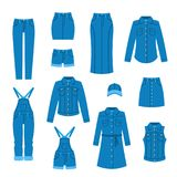 Denim clothes flat icons Royalty Free Stock Photo