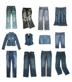 Denim clothes set. Isolated on white Stock Photography