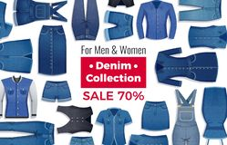 Denim Clothing Sale Advertising Illustration. Advertising layout of sale with discount of denim clothing on white background flat vector illustration vector illustration