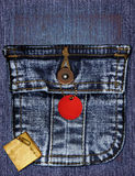 Denim Collage. A vintage denim collage with a pocket royalty free stock photography