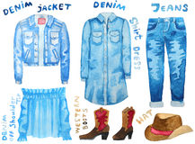 Denim collection. Hand drawn watercolor illustration. Royalty Free Stock Image