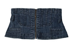 Denim corset. Blue denim corset. over white Stock Photography