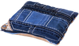Denim cushion. Handmade denim cushion on white background stock photo