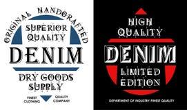 Denim de conception de typographie, emblème, affiche, vecteur Image libre de droits