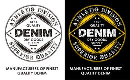 Denim de conception de vintage, emblème, affiche, vecteur Images libres de droits