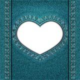 Denim del blu del cuore Immagini Stock