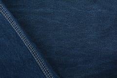 Denim di struttura Tessuto denso tessile Fondo Tessuto naturale blu scuro Fotografia Stock