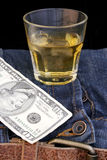Denim e fondi del Bourbon fotografie stock libere da diritti