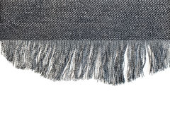 Denim fabric with fringe Royalty Free Stock Photos