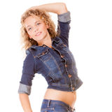 Denim fashion. blonde girl young fashionable woman in blue jeans Royalty Free Stock Photos