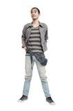 Denim fashion man on white background. Man wearing Ripped Jean stock photos