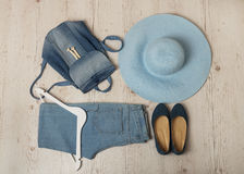 Denim fashion set - clothes, shoes and accessories. Stock Images