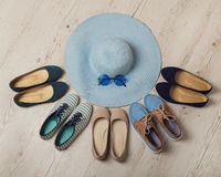 Denim fashion set - clothes, shoes and accessories. Royalty Free Stock Photo