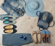 Denim fashion set - clothes, shoes and accessories. Stock Photography